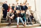 Dans l'abbaye du célèbre élixir du père Gauthier,le groupe de Pierre Rouge au complet. Au premier plan,le père Robert,Mathieu Blanc,Jean-Roch Varon,Arnaud Dol...