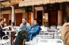 Pause café pour les accompagnateurs.  De gauche à droite : mesdames Gal et Bru,Bernard Bru et Christian Baqué.